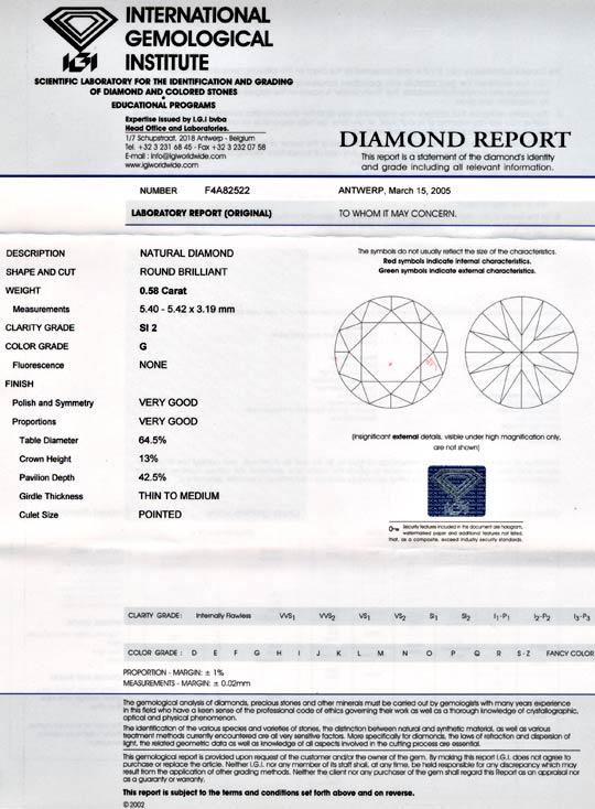 Foto 9, Diamant, IGI !!, 0,58ct Top-Wesselton-G SI VG VG Juwel!, D5682
