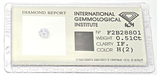 Foto 1, Diamant Zertifikat IGI, Brillant 0,51ct Weiss Lupenrein, D5683