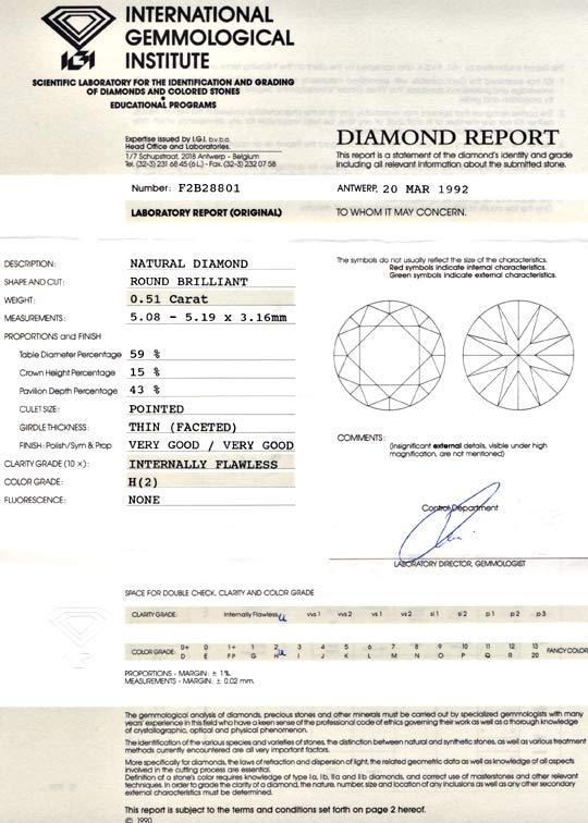 Foto 9, Diamant Zertifikat IGI, Brillant 0,51ct Weiss Lupenrein, D5683