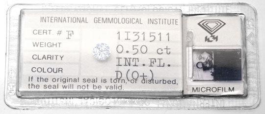 Foto 1, Diamant, IGI, Brillant 0,50ct River-D Lupenrein, Juwel!, D5687
