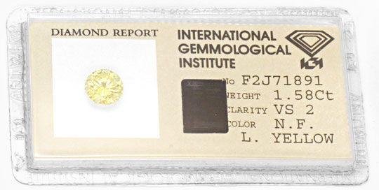 Foto 1, 1,58ct Brillant Natural Fancy Light Yellow, VS2 Diamond, D5690