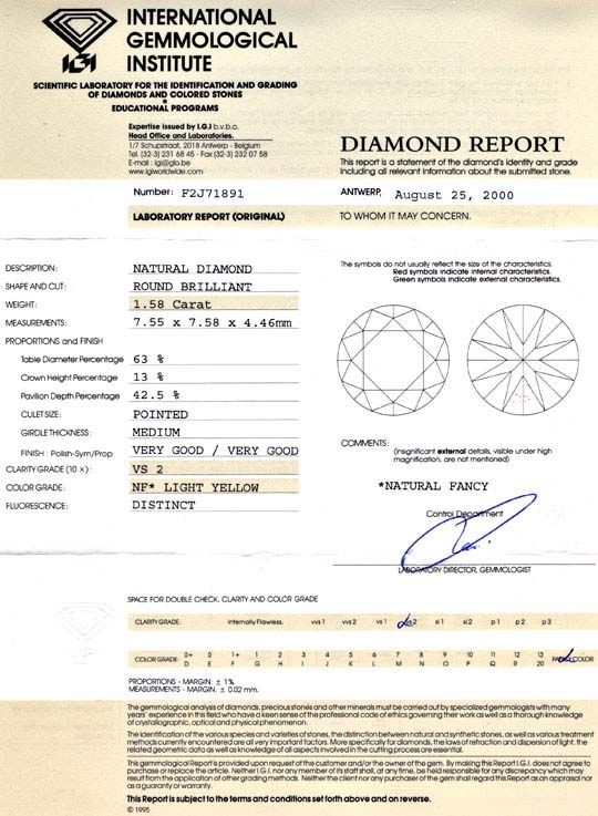 Foto 9, 1,58ct Brillant Natural Fancy Light Yellow, VS2 Diamond, D5690
