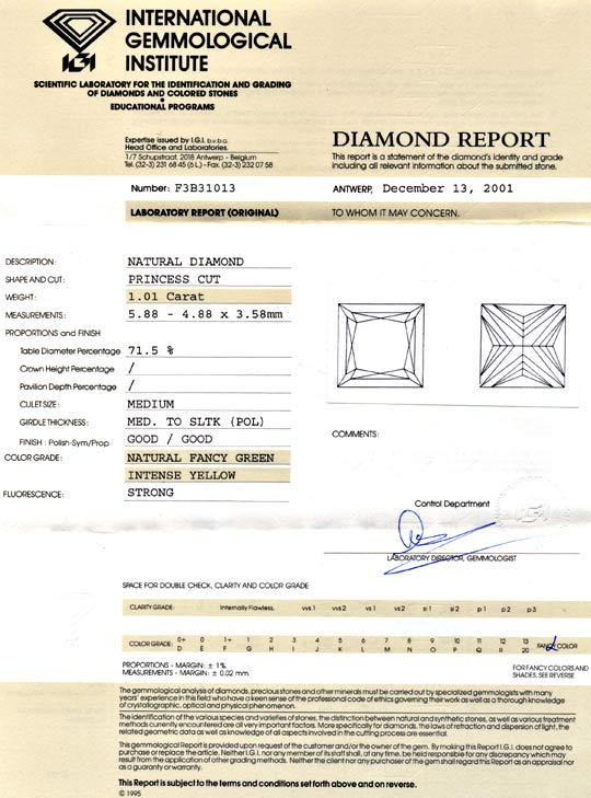 Foto 9, 1,01ct Princess-Diamant Natürliche Zitronenfarbe Juwel!, D5691