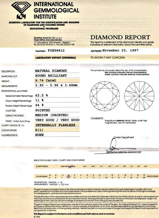 Foto 9, Diamant 0,74ct Lupenrein Top Wesselton VG/VG IGI Juwel!, D5692