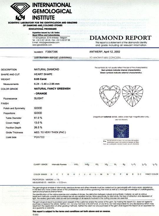 Foto 9, Herzdiamant 0,65ct Natural Fancy Greenish Orange Juwel!, D5696