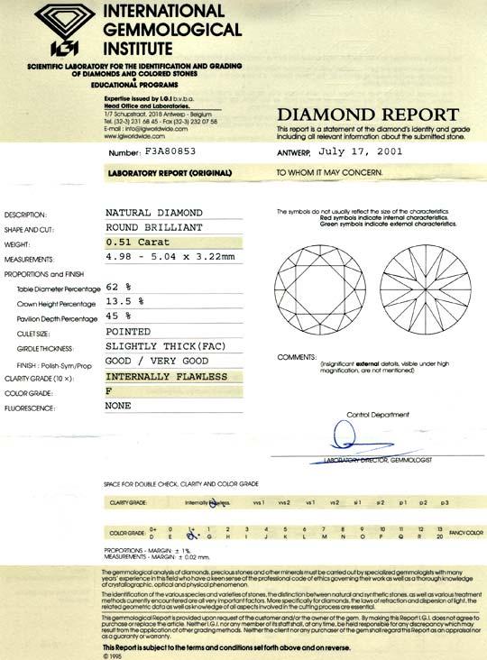 Foto 9, Diamant Brillant 0,51 Lupenrein feines Weiss IGI Juwel!, D5697