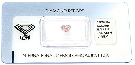 Foto 1, Pink Herz Diamant 0,5ct Natural Pinkish Grey IGI Juwel!, D5698