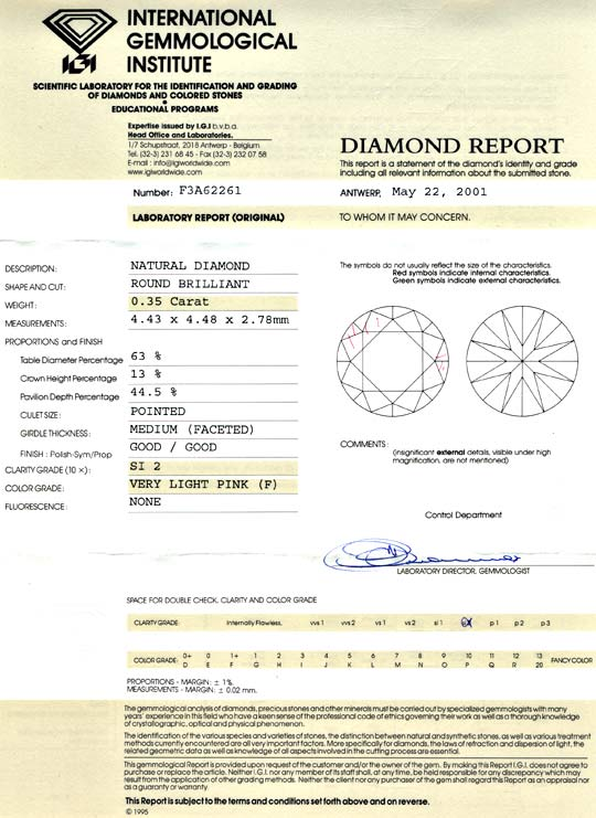 Foto 9, Natural Very Light Pink 0,35ct Brillant, IGI Zertifikat, D5699