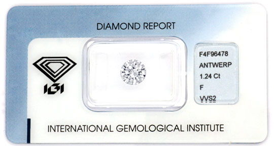 Foto 1, Diamant IGI 1,24 Brillant feines Weiss Plus VVS Diamond, D5701
