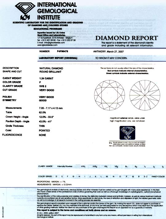 Foto 9, Diamant IGI 1,24 Brillant feines Weiss Plus VVS Diamond, D5701