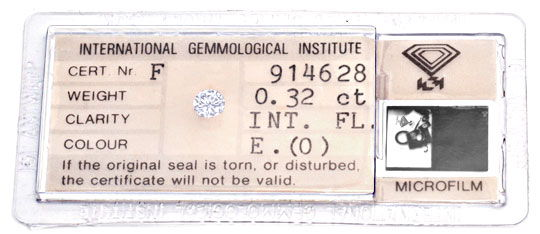 Foto 1, Diamant, IGI Brillant 0,32 Carat Lupenrein River Juwel!, D5702