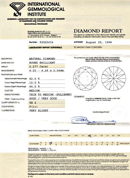 Foto 9, Diamant IGI 0,277ct Top Wesselton F feines Weiss Juwel!, D5703