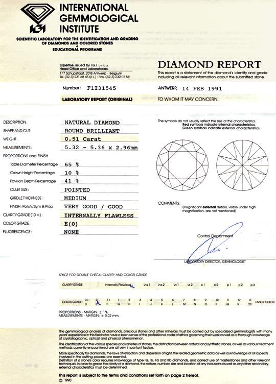 Foto 9, IGI Brillant 0,51ct Diamant Lupenrein River VG/G Juwel!, D5708