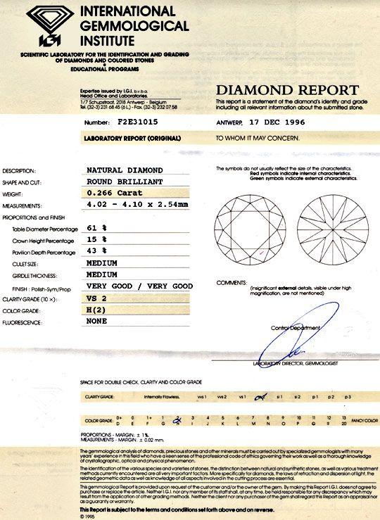 Foto 9, Diamant IGI 0,266 Brilliant Wesselton H VS VG/VG Juwel!, D5711