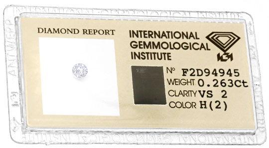 Foto 1, Brilliant 0,263 Diamant Wesselton H VS IGI VG/VG Juwel!, D5712