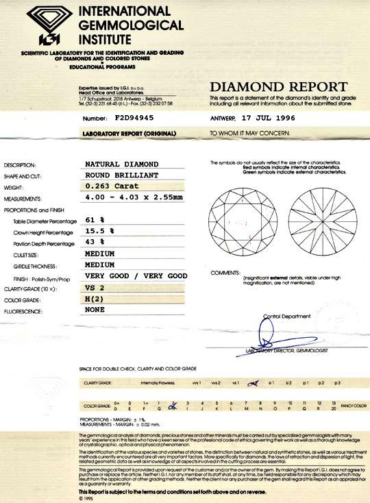 Foto 9, Brilliant 0,263 Diamant Wesselton H VS IGI VG/VG Juwel!, D5712