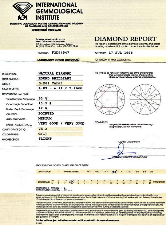 Foto 9, Diamant, IGI, Brillant 0,261ct Top Wesselton VS2 Juwel!, D5713