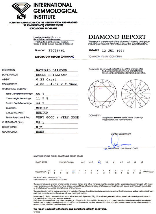 Foto 9, Diamant, Brillant 0,23ct Wesselton Weiss H VS1 IGI Shop, D5714