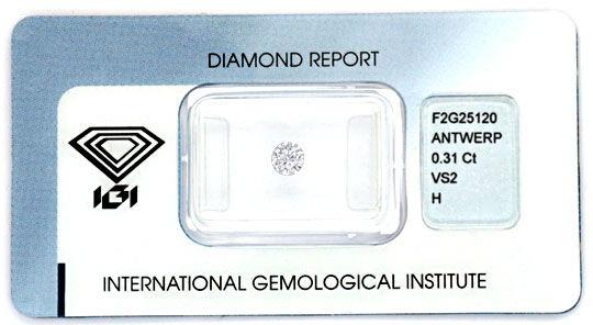 Foto 1, Diamant 0,31ct Brillant IGI Wesselton H, VS2 G/G Juwel!, D5715