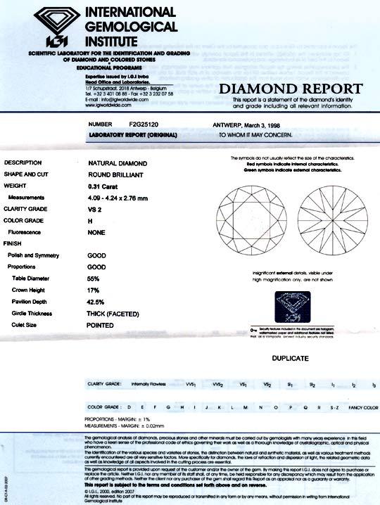 Foto 9, Diamant 0,31ct Brillant IGI Wesselton H, VS2 G/G Juwel!, D5715