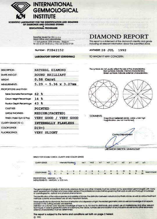 Foto 9, Bester Halbkaräter Diamant IGI 0,58ct D LC VG/VG Juwel!, D5723