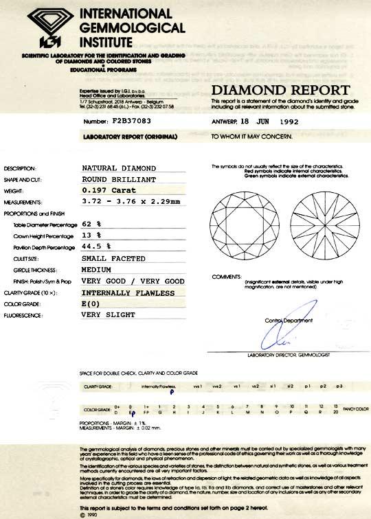 Foto 9, Diamant IGI 0,197ct Brillant Lupenrein River! VG Juwel!, D5725