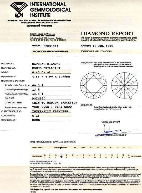 Foto 9, Diamant IGI 0,43 Carat Lupenrein Top Wesselton G Juwel!, D5729