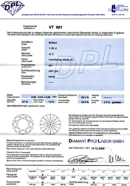 Foto 9, Einkaräter Diamant 1,08ct Brillant River VS DPL Diamond, D5731