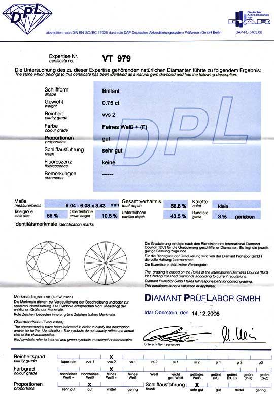 Foto 9, Diamant, DPL 0,75ct Brillant feines Weiss F VVS2 Juwel!, D5732