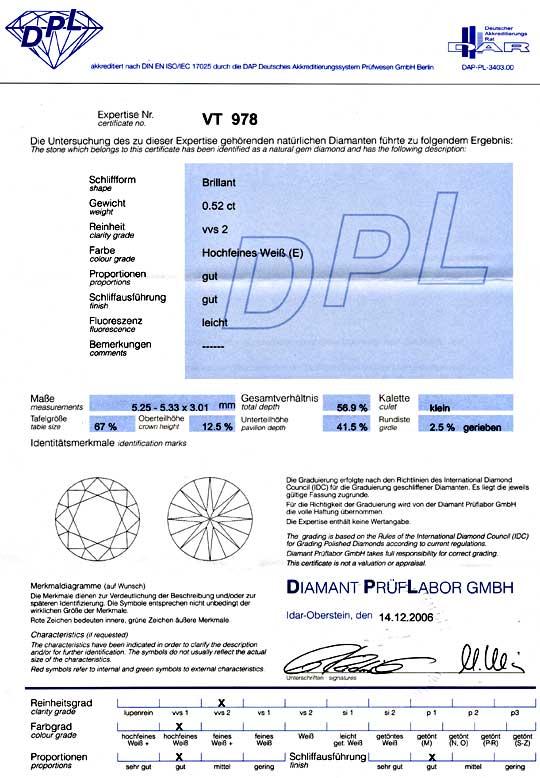 Foto 9, Diamant DPL 0,52ct Brillant Hochfeines Weiss VVS Juwel!, D5733