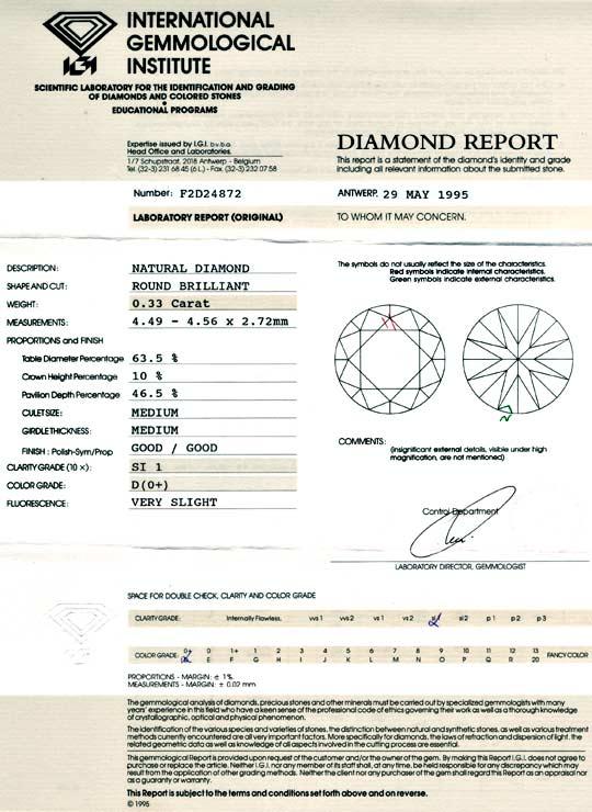 Foto 9, Diamant IGI 0,33 Brillant Drittelkaräter River-D Juwel!, D5734