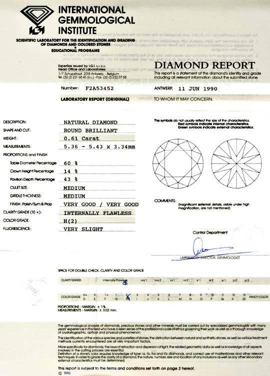 Foto 9, Diamant IGI 0,61ct Brillant, Lupenrein Wesselton Juwel!, D5735