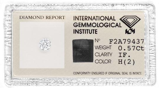 Foto 1, Diamant IGI 0,57 Brillant, Lupenrein Weiss VG/VG Juwel!, D5736