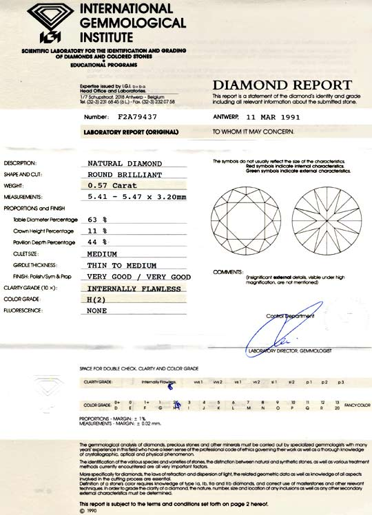 Foto 9, Diamant IGI 0,57 Brillant, Lupenrein Weiss VG/VG Juwel!, D5736