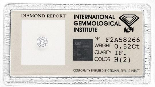 Foto 1, Diamant IGI 0,52 Lupenrein Weiss, 2 Mal sehr gut Juwel!, D5737