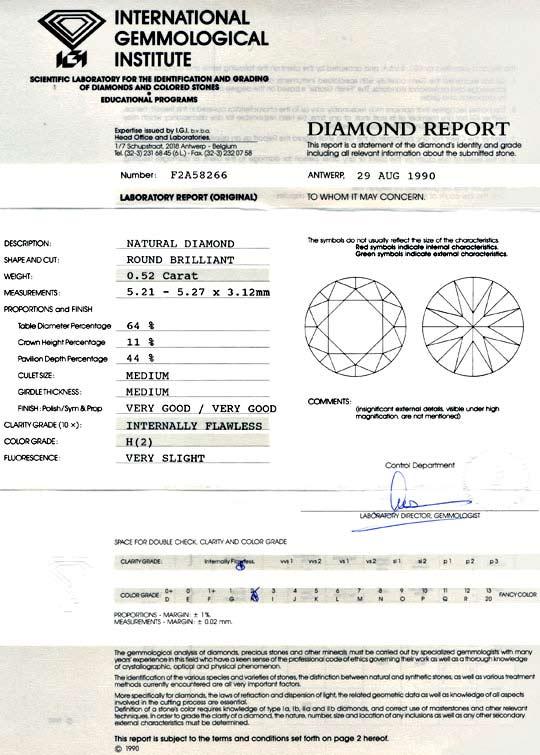 Foto 9, Diamant IGI 0,52 Lupenrein Weiss, 2 Mal sehr gut Juwel!, D5737