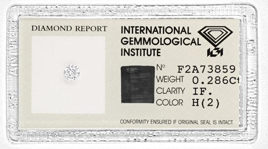 Foto 1, Diamant IGI 0,286 Brillant Lupenrein Weiss VG/VG Juwel!, D5739
