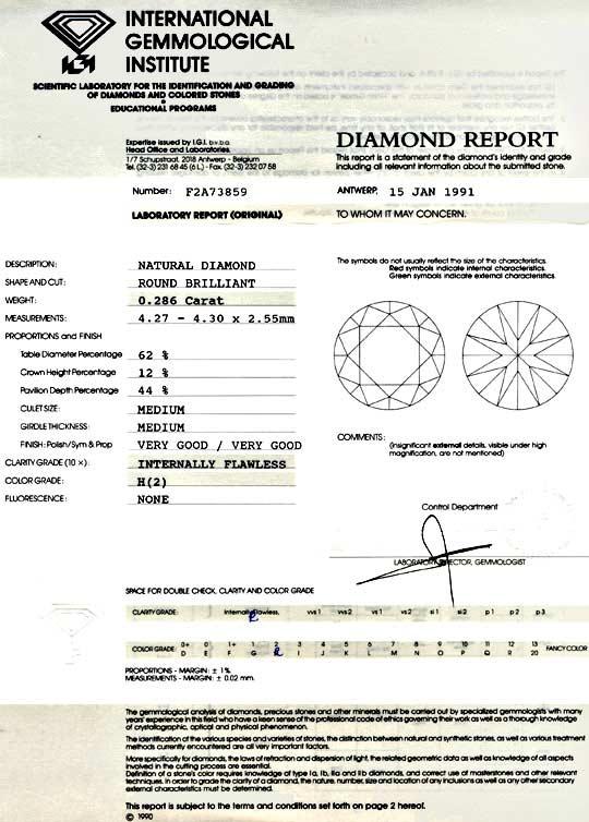 Foto 9, Diamant IGI 0,286 Brillant Lupenrein Weiss VG/VG Juwel!, D5739