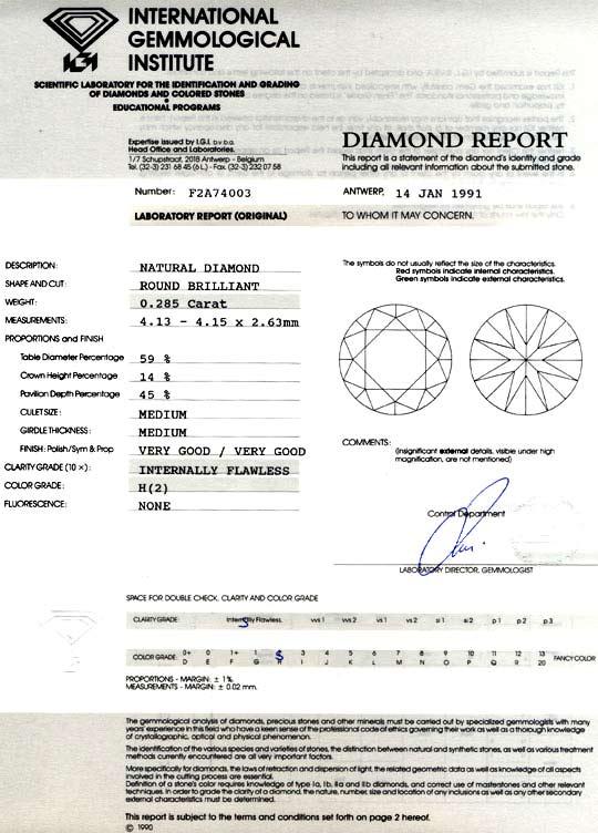 Foto 9, Diamant IGI 0,285ct Brillant Lupenrein Wesselton Juwel!, D5740