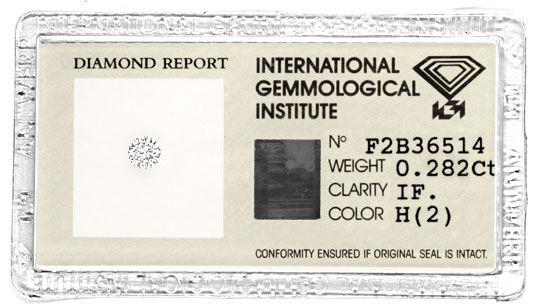 Foto 1, Diamant IGI 0,282ct Brillant Lupenrein Wesselton Juwel!, D5741