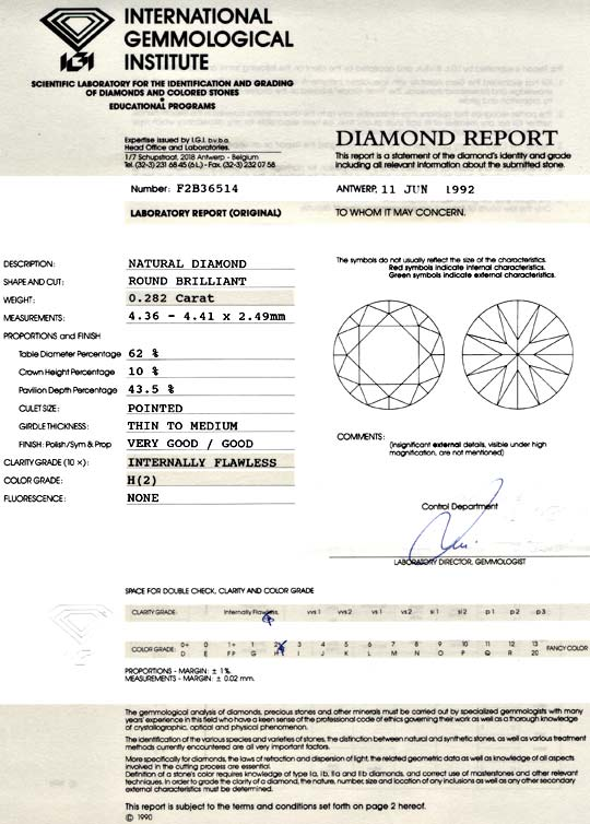 Foto 9, Diamant IGI 0,282ct Brillant Lupenrein Wesselton Juwel!, D5741
