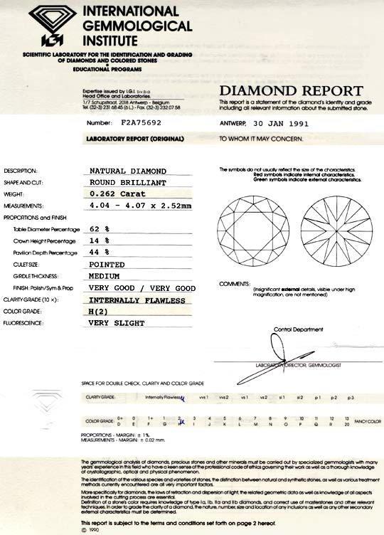 Foto 9, Diamant IGI 0,262 Carat Lupenrein Wesselton VGVG Juwel!, D5743