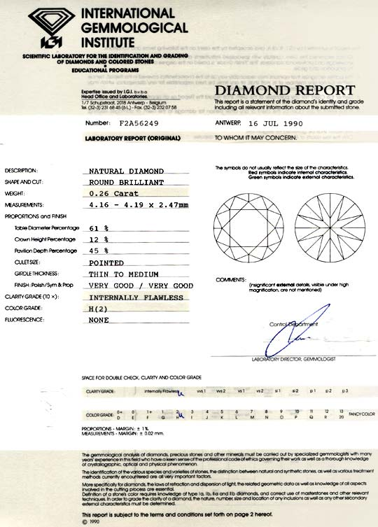 Foto 9, Diamant IGI 0,26ct Brilliant Lupenrein Wesselton Juwel!, D5745