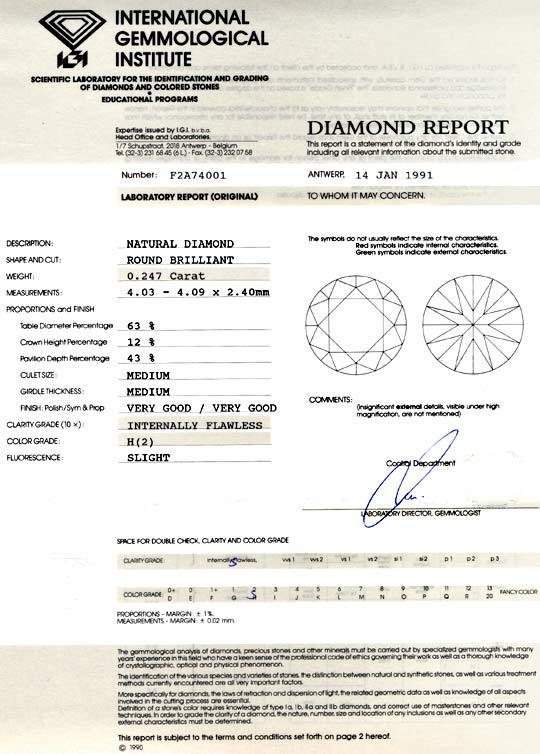 Foto 9, Diamant IGI 0,247ct Brillant Lupenrein Wesselton Juwel!, D5746