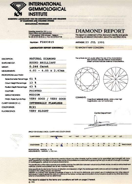 Foto 9, Diamant IGI 0,246ct Brillant Lupenrein Wesselton Juwel!, D5747