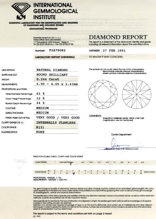 Foto 9, Brilliant IGI 0,244 Brillant Lupenrein Wesselton Juwel!, D5749