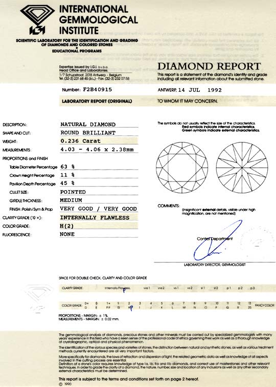 Foto 9, Diamant IGI 0,236ct Brillant Lupenrein Wesselton Juwel!, D5752