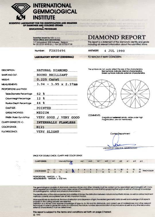 Foto 9, Diamant IGI 0,225ct Brillant Lupenrein Wesselton Juwel!, D5754
