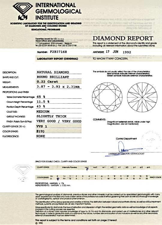 Foto 9, Diamant IGI 0,22 Carat Brillant River VVS1 VG/VG Juwel!, D5755