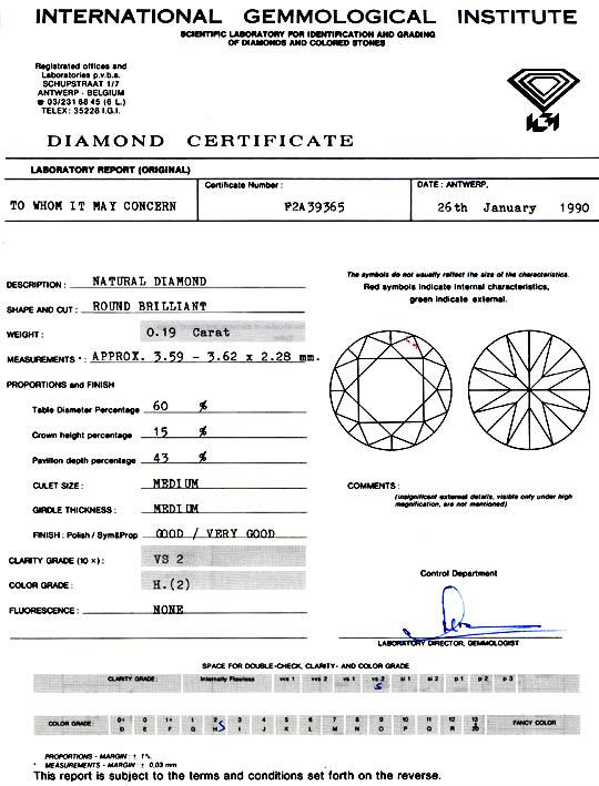 Foto 9, Diamant IGI 0,19ct Brilliant Wesselton Weiss-H VS2 Shop, D5759